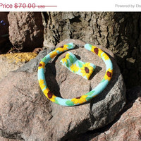 On Sale Sunflowers necklace - Beaded crochet necklace, rope necklace and with woven bracelet Sunflowers - Woven Beaded Bracelets - Jewelry S