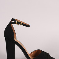 Bamboo Suede Pleated Ankle Strap Chunky Heel