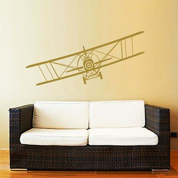 Airplane Wall Decal Vinyl Sticker Decals Biplane Plane Air Airplane Aviation Nursery Decor Mural Graphics Boys Room Bedroom AN756