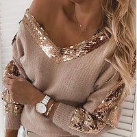 New stitching knitted sexy V-neck sequined long-sleeved sweater