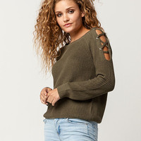 FULL TILT Lattice Shoulder Womens Sweater | Pullovers