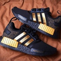 Tagre™ Versace x Adidas NMD_R1 Black/Gold Sneakers Trending Running Sports Shoes