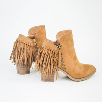 Back Fringe Bootie in Chestnut