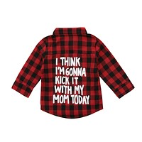2-7Years Red Plaid Toddler Kids Boy Girl Long Sleeve Shirts Back Letter Print Tee Tops Clothes