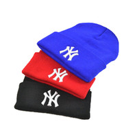 New York Classic Letters Embroidered Knitted Wool Winter Red Blue Black Women &  Mens Cuffed Skully Hat