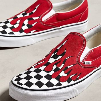 Vans Slip-On Checkerboard Flame Sneaker   Urban Outfitters