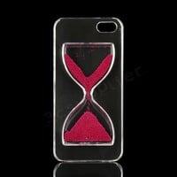 Cute Crystal Sandglass Hourglass Drift Sand Case Cover for Apple Iphone 5 5s (rose)