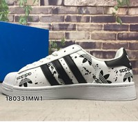 ADIDAS Superstar Print Shell Cap Top Sport Shoes White&Black