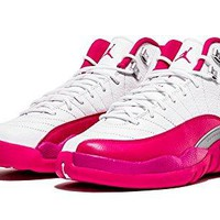 Nike Air Jordan 12 Retro GG White/Vivid Pink-Silver Basketball Shoes (7)