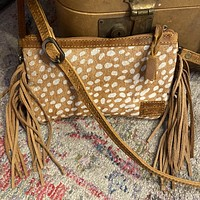 Small Axis Deer Fringe Purse