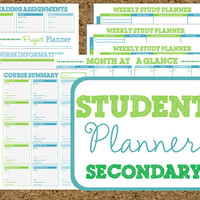 INSTANT DOWNLOAD Student Planner- Secondary Study Printables-11 Sheets Class Planners