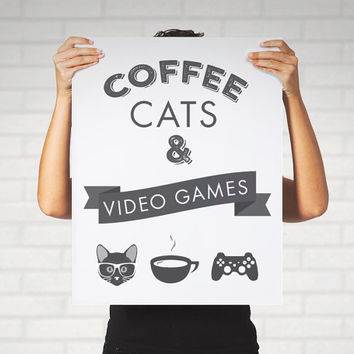 Large Print Poster Coffee Cats Video Games Typography Nerdy Cat Lady Gamer Home Decor Wall Art Black and White