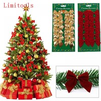 12PCS Pretty Bow Xmas Ornament Christmas Tree Decoration Festival Party Home Bowknots Baubles Baubles New Year Decoration 171122