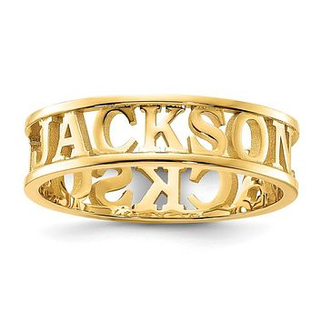 14K Yellow Gold Polished Personalized Name Ring