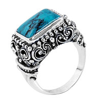 """SR-5395-TQ-9"""" Sterling Silver Ring With Turquoise"""
