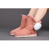 Ugg 7502 W Brita Pink Classic Mini Bailey Button II Metallic Sheepskin Boots Snow Boots