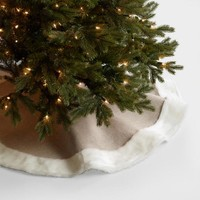 Faux Linen & Fur Tree Skirt