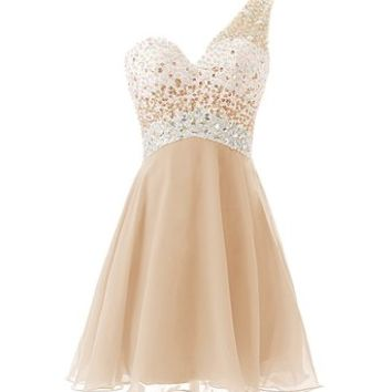 Dresstells® One Shoulder Homecoming Dress with Beadings Short Bridesmaid Dress Champagne Size 2