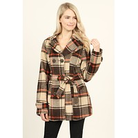 Double Collared Plaid Wool Peacoat