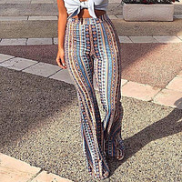 2019 Flare Pants Boho Women Striped Printed Hippie Pants High Elastic Waist Vintage Stretch Ethnic Style Bell Bottom Trousers