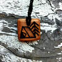 All Natural Camping Nature Wooden Pendant Necklace