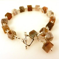 Brown Gemstone Beaded Bracelet with Sterling Silver Toggle Clasp, Natural Botswanna Agate Square Beads