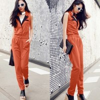 Stylish Women's Turn Down Collar Sleeveless Jumpsuit Overall Slim Leg Suits HOT