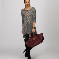 Sale-black Marled Hacci Hi Lo Sweater
