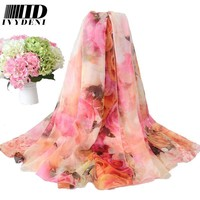 200*150cm Ladies Long Silk Chiffon Scarf 2016 New Luxury Brand Flower Infinity scarf Women Designer Scarf Summer Beach Cover Up
