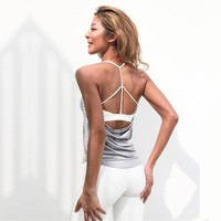 Openback Yoga Shirts With Built In Bra Sleeveless Sports T Shirts Fitness Activewear Dri-Fit Strappy Workout Tops For Women Gym