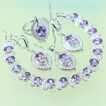 Eye Purple Rhinestone white crystal Jewelry Sets 925 stamp Silver color Zircon Bracelets/Earrings/Necklace/Pendant  B0001