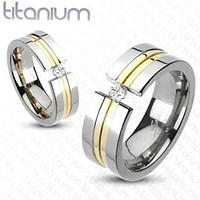 8mm Center Gold IP Double Grooved Band Ring with CZ Solid Titanium