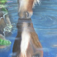 Horses, Horse Print from original Painting, Brown Horse