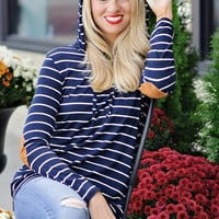 April Striped Hoodie With Elbow Patches: Navy