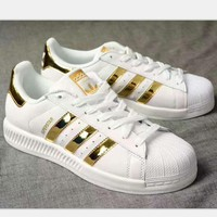 ADIDAS Superstar Shell Toe Women Casual Running Sport Shoes Sneakers white(gold reflective line) H-PSXY 1