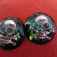 Adjustable Ring with skull inside and Faux Opal Effects