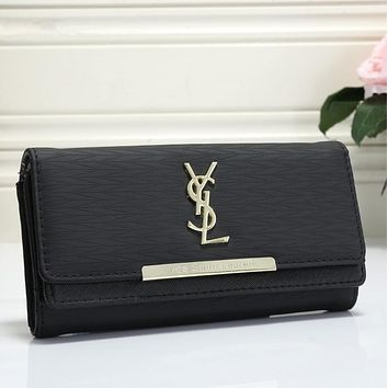 YSL Women Leather Wallet Purse