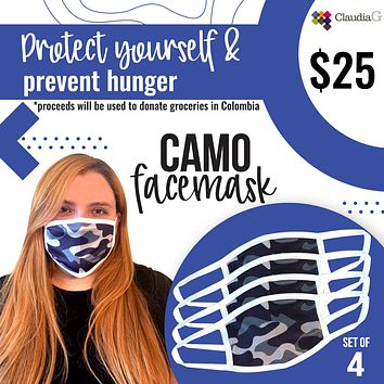 Camo Face Masks -Individual or Set of 4