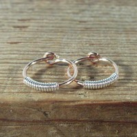 Small Hoop Earrings Pink Gold with Silver Wrap