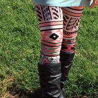 Coral and Mint Aztec Print Leggings (Small)