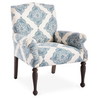 Tara Linen Accent Chair, Blue/White, Accent & Occasional Chairs