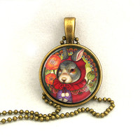 10% SALE - Necklace Little Red Riding Hood Bunny Rabbit Pendant Necklaces Gift