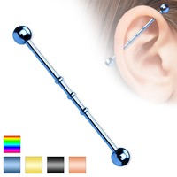 Titanium IP Triple Notched Industrial Barbell
