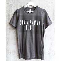 Distracted - Champagne Diet Unisex Graphic Tee in Dark Heather Grey