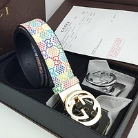 Wearwinds GUCCI new men's and women's color printed letter high-end belt