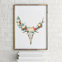 Floral Deer Home decor Typography quote Wall ArtWork Printable art Room poster Instant download Typographic print Deer poster Floral poster
