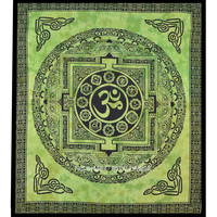 Queen Green Aum Tapestry, Tie Dye OM Tapestry Wall Hanging Bedspread on RoyalFurnish.com