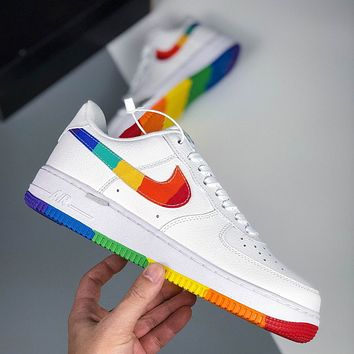 NIKE AIR FORCE 1 embroidered color-blocked hook classic wild casual sneakers
