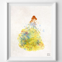 Beauty and Beast Disney, Belle Print Watercolor, Poster, Art, Illustration, Watercolour, Giclee Wall, Kid Nursery, Home Decor [NO 353]