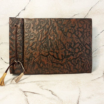 Vintage Photo Album, Old Photo Album, Retro Photo Album, Embossed Covers in Brown and Black, Leather cord with tassels